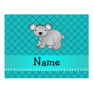 Personalized name koala bear turquoise grid post cards