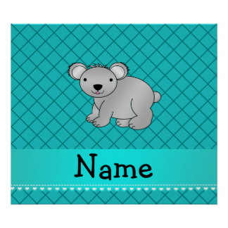 Personalized name koala bear turquoise grid print
