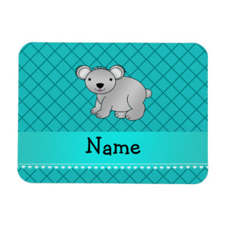 Personalized name koala bear turquoise grid vinyl magnets