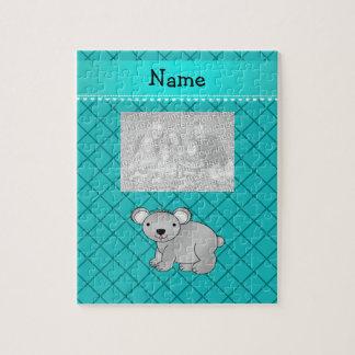 Personalized name koala bear turquoise grid puzzles
