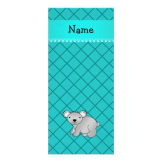Personalized name koala bear turquoise grid rack cards
