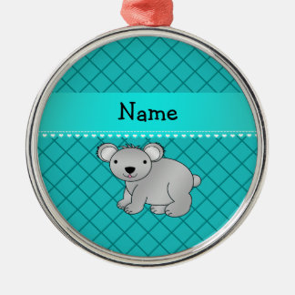 Personalized name koala bear turquoise grid Silver-Colored round decoration