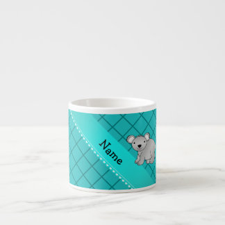 Personalized name koala bear turquoise grid espresso mugs