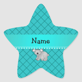Personalized name koala bear turquoise grid star sticker
