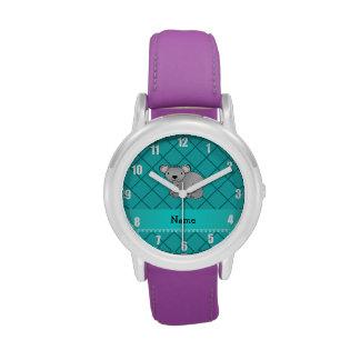 Personalized name koala bear turquoise grid wrist watches