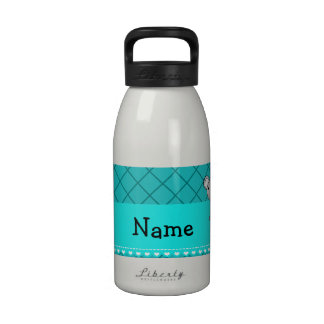 Personalized name koala bear turquoise grid drinking bottle