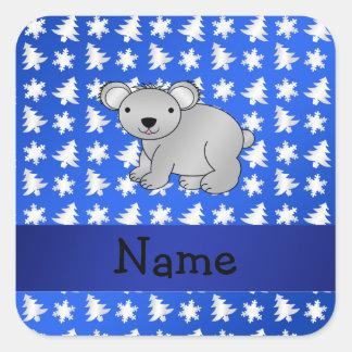 Personalized name koala blue snowflakes trees square sticker