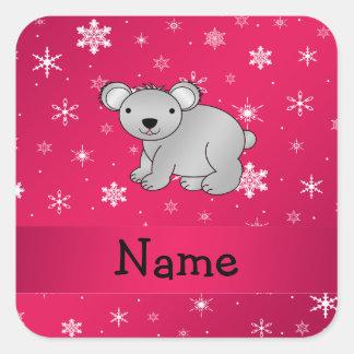 Personalized name koala pink snowflakes square stickers