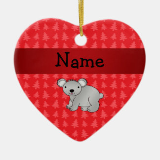 Personalized name koala red christmas trees ceramic heart decoration