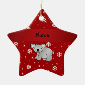 Personalized name koala red snowflakes christmas ornament