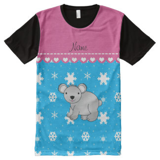 Personalized name koala sky blue snowflakes All-Over print T-Shirt
