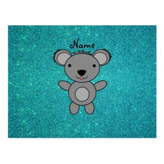 Personalized name koala turquoise glitter postcard
