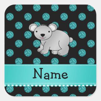 Personalized name koala turquoise polka dots square sticker