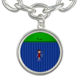 Personalized name lacrosse girl blue stripes charm bracelet