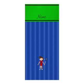 Personalized name lacrosse girl blue stripes rack card