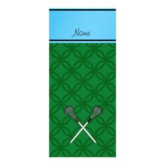 Personalized name lacrosse sticks green circles custom rack card