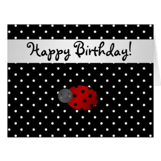 Personalized name ladybug black polka dots card