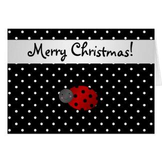Personalized name ladybug black polka dots greeting card