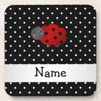 Personalized name ladybug black polka dots coasters