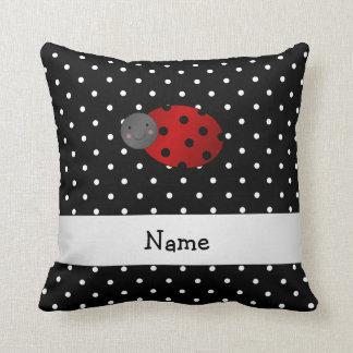 Personalized name ladybug black polka dots throw pillows