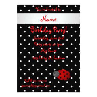 Personalized name ladybug black polka dots 5x7 paper invitation card