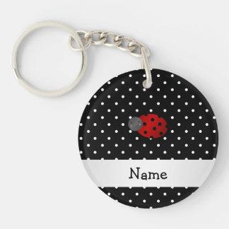 Personalized name ladybug black polka dots key chains