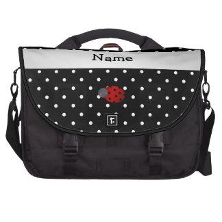 Personalized name ladybug black polka dots laptop commuter bag