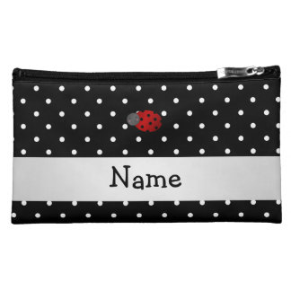 Personalized name ladybug black polka dots makeup bag