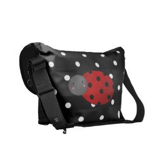 Personalized name ladybug black polka dots messenger bag