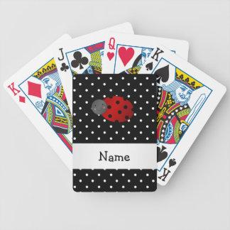 Personalized name ladybug black polka dots poker deck