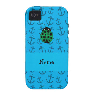 Personalized name ladybug blue anchors pattern Case-Mate iPhone 4 cover