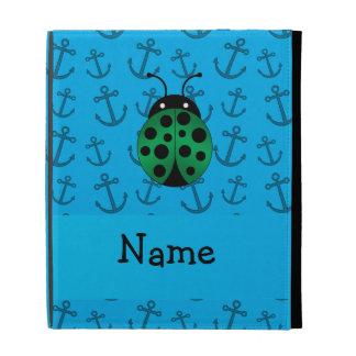 Personalized name ladybug blue anchors pattern iPad folio cover