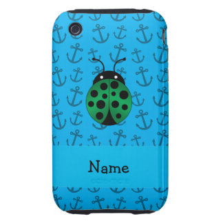 Personalized name ladybug blue anchors pattern iPhone 3 tough case