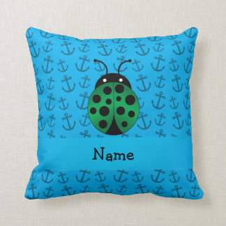 Personalized name ladybug blue anchors pattern pillow