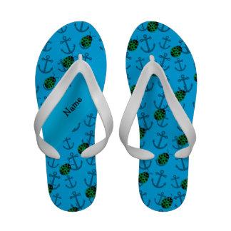 Personalized name ladybug blue anchors pattern flip flops
