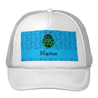 Personalized name ladybug blue anchors pattern mesh hats