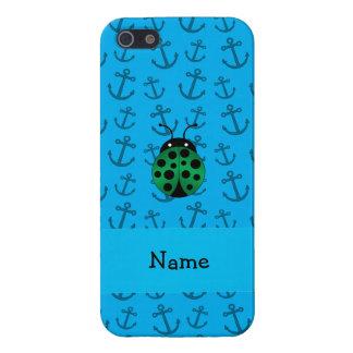 Personalized name ladybug blue anchors pattern iPhone 5 case