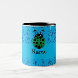 Personalized name ladybug blue anchors pattern mugs