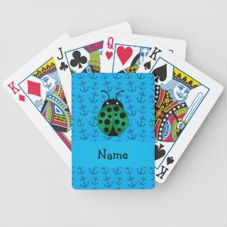 Personalized name ladybug blue anchors pattern poker cards