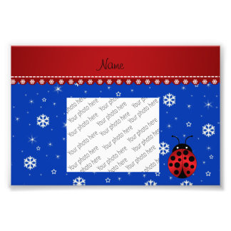 Personalized name ladybug blue snowflakes art photo