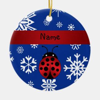 Personalized name ladybug blue snowflakes christmas ornament