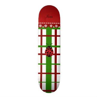 Personalized name ladybug christmas plaid 20 cm skateboard deck