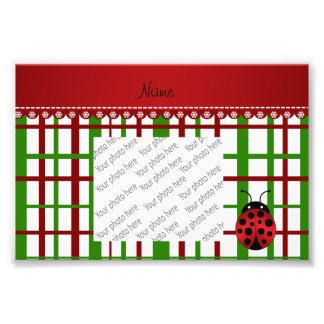 Personalized name ladybug christmas plaid photo art