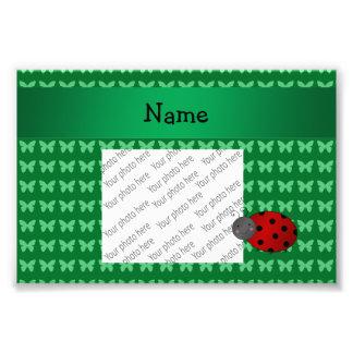 Personalized name ladybug green butterflies art photo