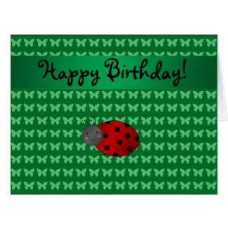 Personalized name ladybug green butterflies large greeting card
