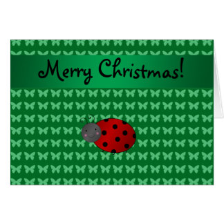 Personalized name ladybug green butterflies greeting card