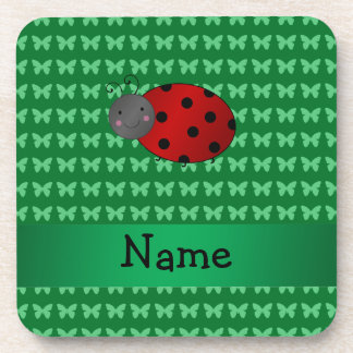 Personalized name ladybug green butterflies coasters