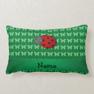 Personalized name ladybug green butterflies pillow