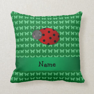 Personalized name ladybug green butterflies pillows