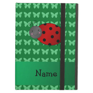 Personalized name ladybug green butterflies iPad cases